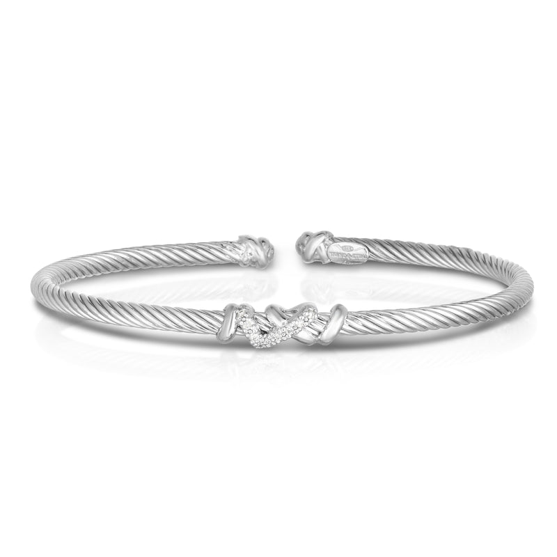 Sterling Silver Italian Cable Diamond Filo Thin Cuff Bangle - Phillip Gavriel