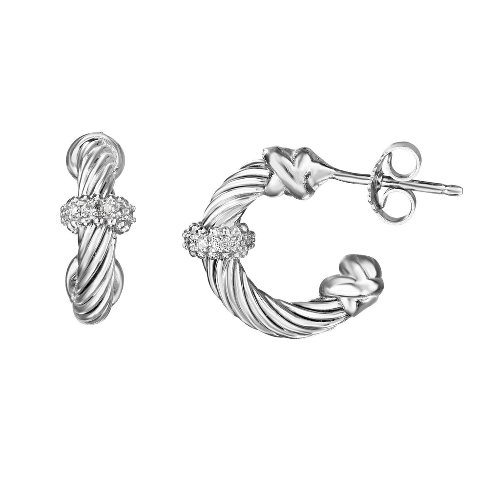 Sterling Silver Italian Cable Small Diamond Hoop Earrings - Phillip Gavriel