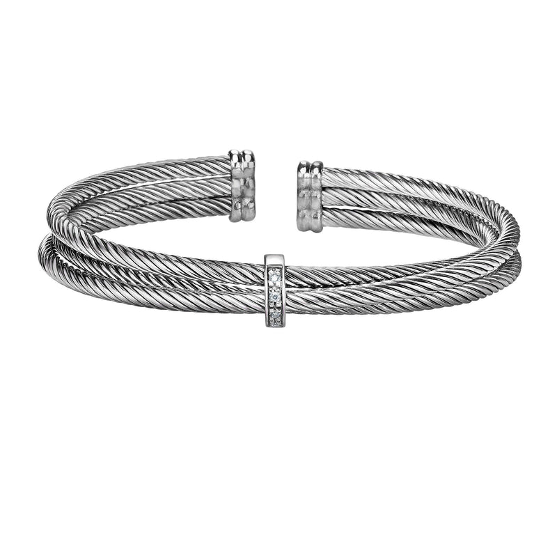 Sterling Silver Italian Cable Triple Row Diamond Abbraccio Cuff - Phillip Gavriel