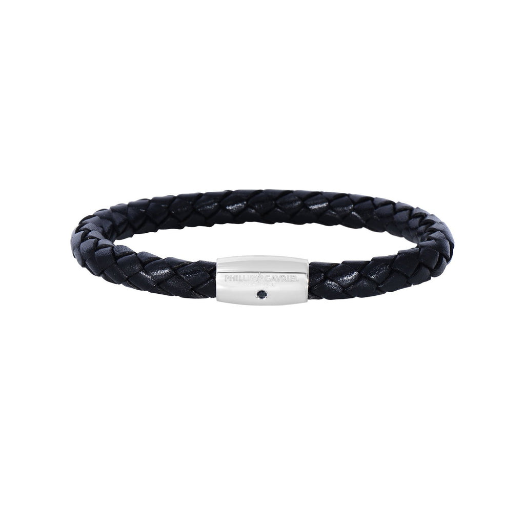 Sterling Silver Men's Leather Bracelet - Phillip Gavriel