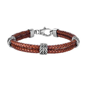 Sterling Silver Men's Textured Leather Double Strand Bracelet - Phillip Gavriel