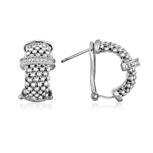 Sterling Silver Popcorn Diamond Bar Half-Moon Earrings - Phillip Gavriel
