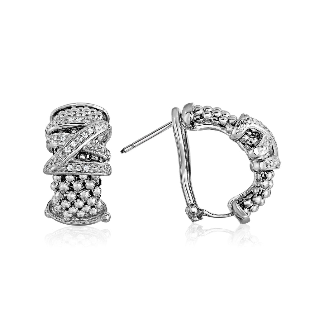 Sterling Silver Popcorn Diamond Tally Half-Moon Earrings - Phillip Gavriel