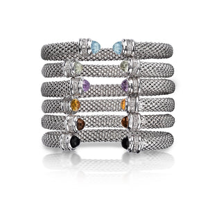 Sterling Silver Popcorn Gemstone & Diamond Classic Cuff Bangle - Phillip Gavriel