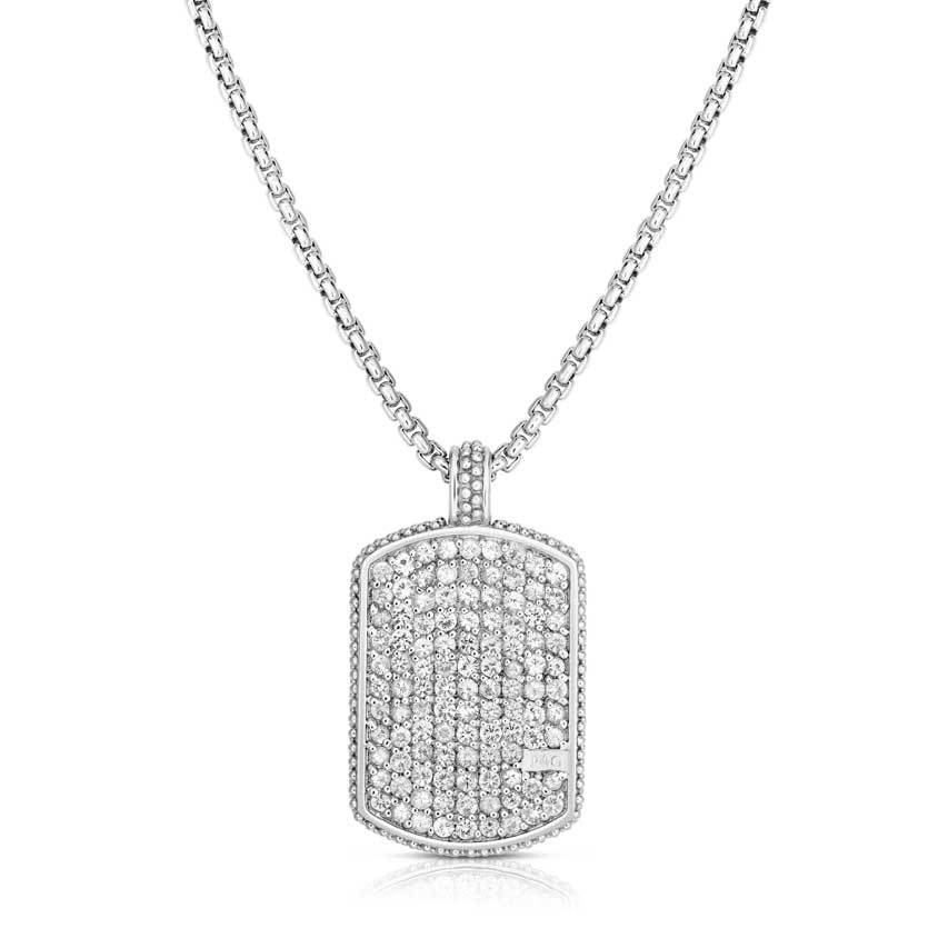 Sterling Silver Sapphire Dog Tag Necklace - Phillip Gavriel