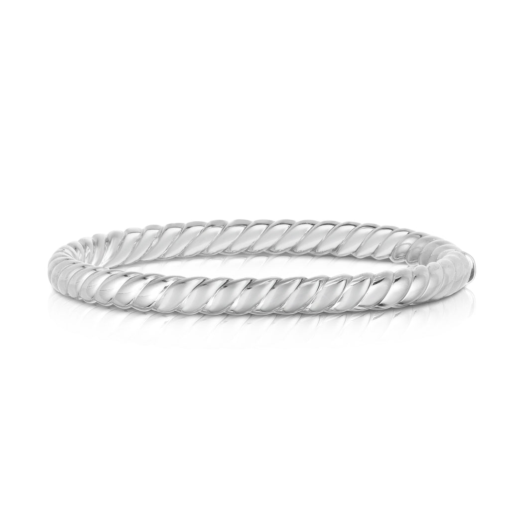 Sterling Silver Sculpted Twist 6mm Bangle - Phillip Gavriel