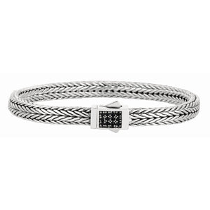 Sterling Silver Signature Woven Sapphire Rectangle Lock Bracelet - Phillip Gavriel