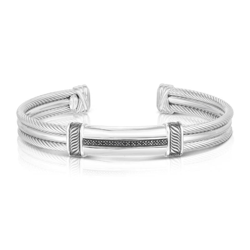 Sterling Silver Triple Strand Cable Black Diamond Bar Men's Cuff - Phillip Gavriel