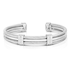 Sterling Silver Triple Strand Cable Men's Cuff - Phillip Gavriel