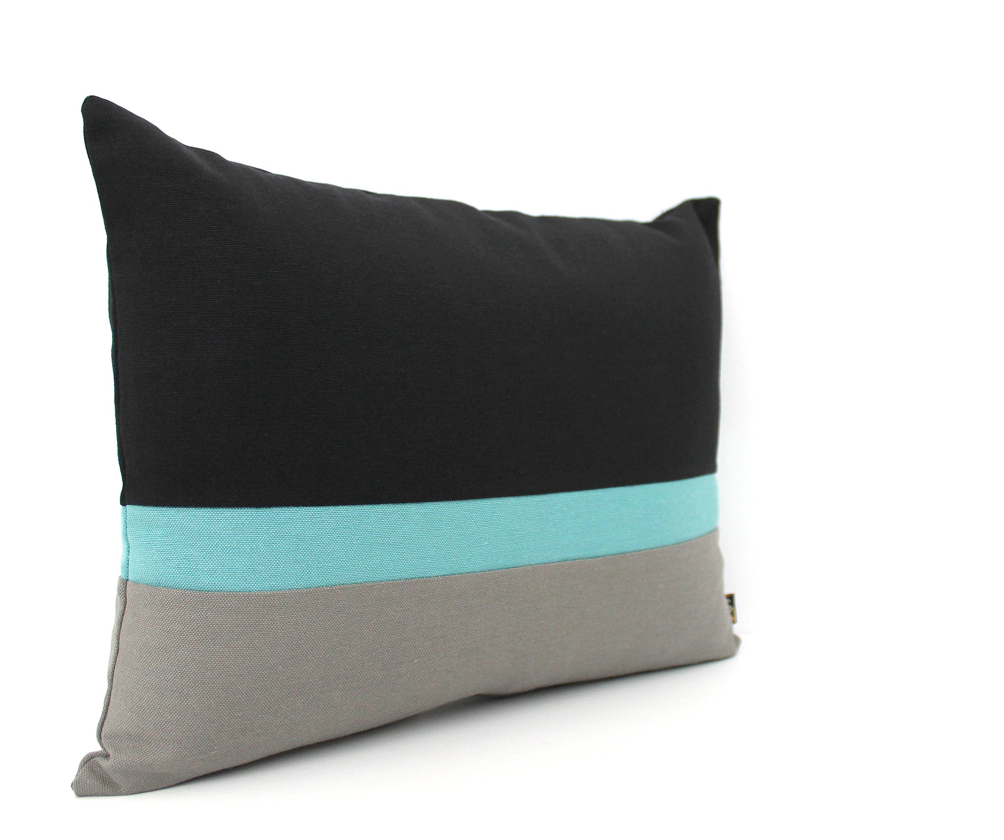 Black Light Teal And Grey Colorblock Pillow Covers All Sizes Sndsigns