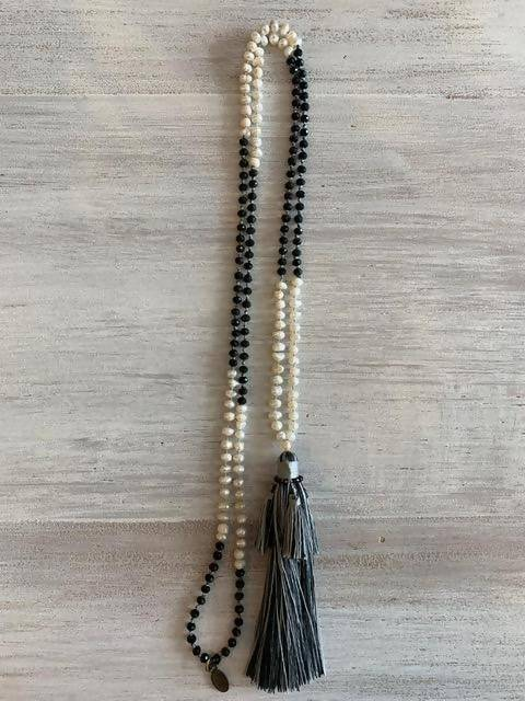 Copy of Zacasha Mini fresh Water Vintage Style Pearl and Crystal Tassel Necklace - Multi Black Tassel Color
