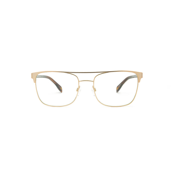 MIO1009 C3- 54-18-145 Satin Gold/Shiny Gold front, Brown Horn, Blue Block lenses