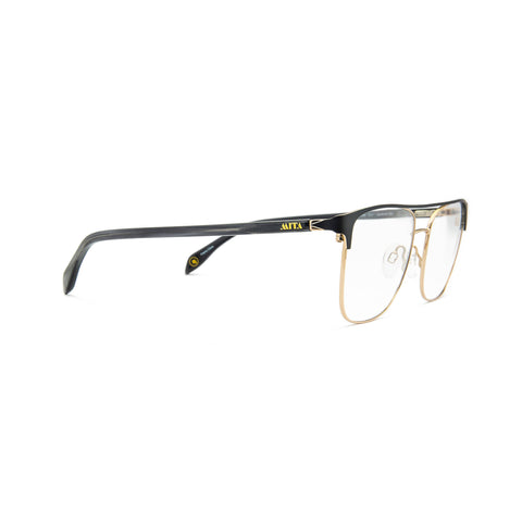 MIO1009 C1 - 54-18-145 Black Gold front, Grey Horn temples