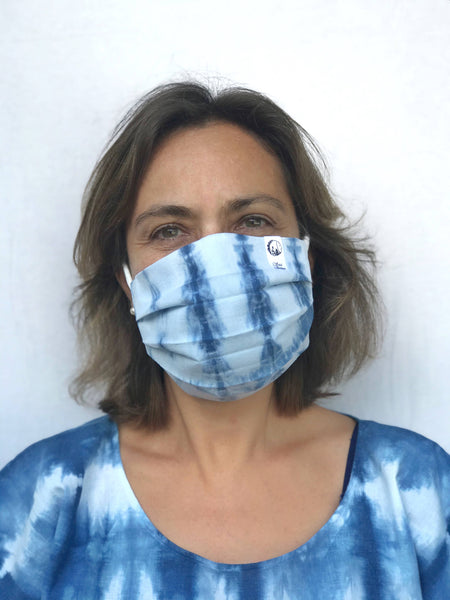Hand Dyed ONE OF A KIND Shibori indigo Face Mask with filter pocket