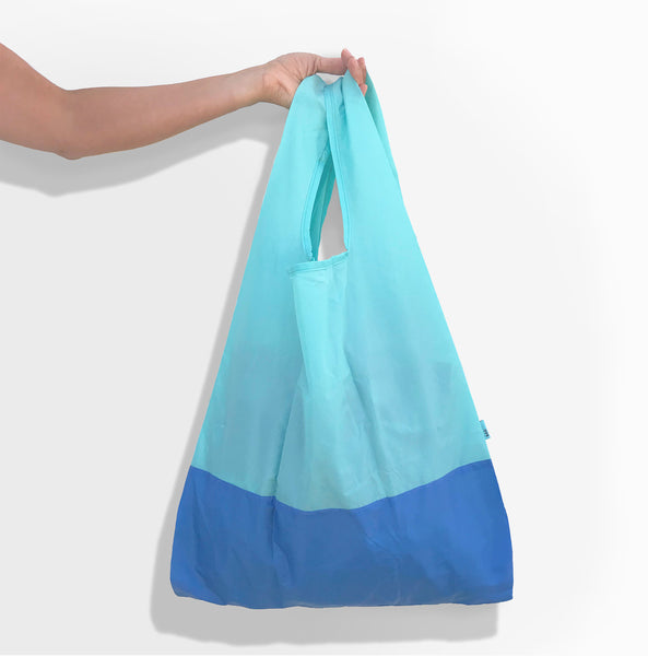 Econyl® aqua and bondi blue foldable tote bag