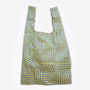 Recycled bottles yellow/grey graphic print foldable tote bag