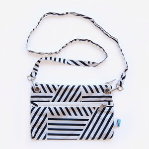 Recycled bottles black and white graphic print cross-body bag