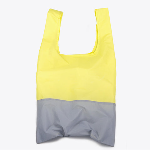 Econyl® yellow and grey foldable tote bag