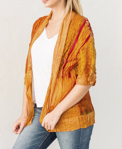 Autumn Multi Long Vintage Silk Crinkled Kimono
