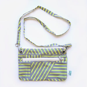 Recycled bottles yellow and grey graphic print cross-body bag