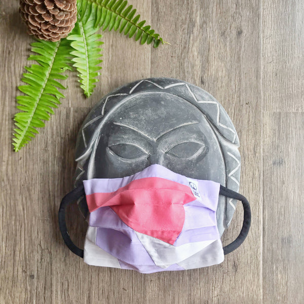 Three layers - Filter pocket - Patchwork Face Mask with Removable Nose Bridge made from scraps