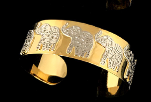 "Zacasha Handmade Cuff Bracelet ""Good Luck Elephant""- Henna Motifs Enameled By Hand on  Stainless steel - Large Size"