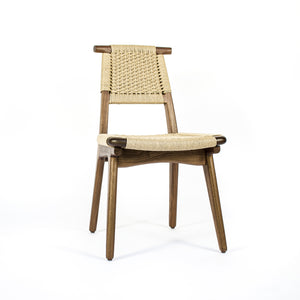 Rian Bullhorn Dining Chair, Walnut and Danish Cord Woven Seat Deck