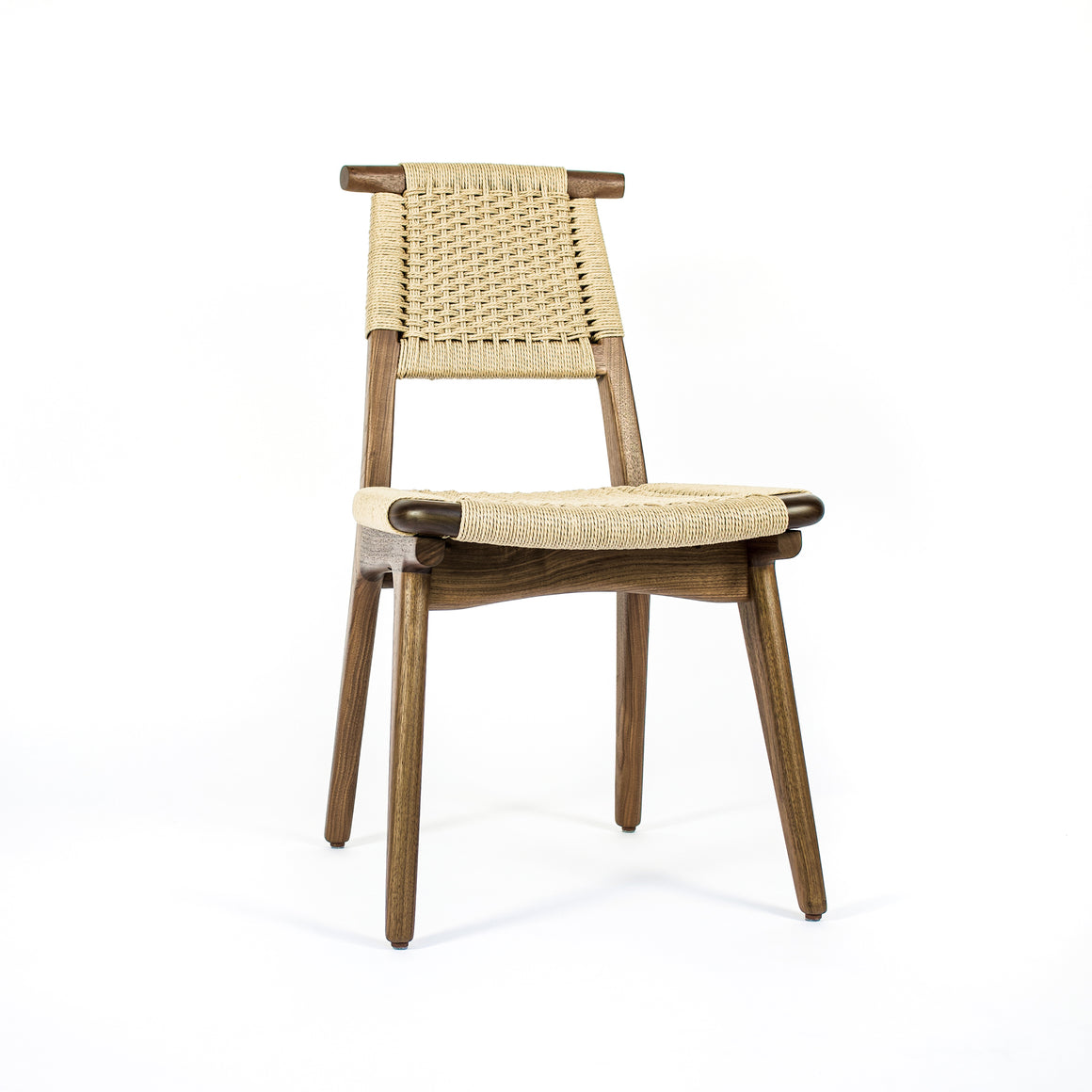 Rian Bullhorn Chair Walnut and Danish Cord Woven Seat Deck