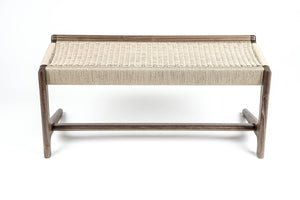 Rian Cantilever Bench, Walnut + Natural Danish Cord