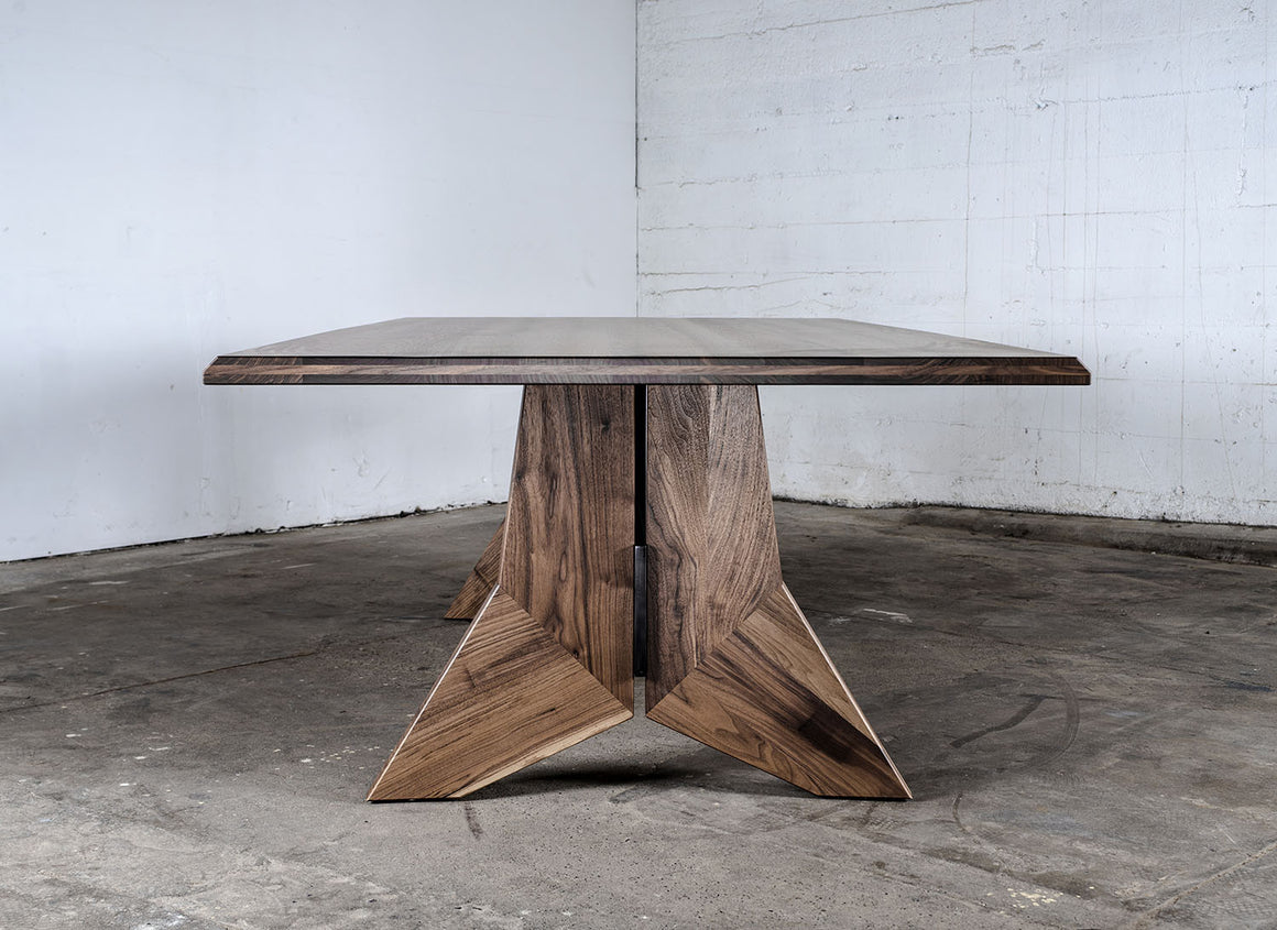 Modern Hardwood and Steel Dining Table, Custom