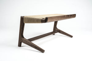 Rian Cantilever Bench, Entryway, Walnut, Kraft Danish Cord, Bedroom, Custom