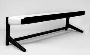 Cantilever Long Bench, Black Ebonized Wood, Woven White Danish Cord, Entryway, Bedroom, Custom