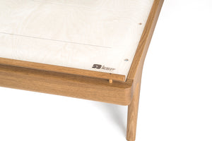 Hardwood White Oak Bed with Kraft Danish Cord Mid-centry Modern Handmade Custom