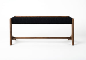 Rian Cantilever Bench, Black Woven Danish Cord, Entryway, Custom, Hardwood