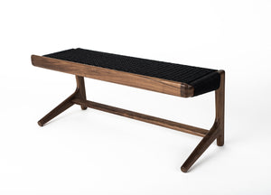 Rian Cantilever Bench, Walnut + Black Danish Cord