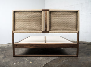 View of back of woven headboard on Hardwood Walnut Bed with Kraft Danish Cord Mid-Centry Modern Handmade Custom