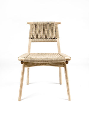 Rian Bullhorn Chair White Ash Kraft Danish Cord, woven seat deck and back