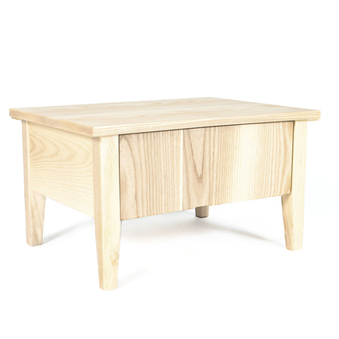 Low Bedside Table, Nightstand, White Ash