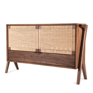 Rian Media Credenza, Walnut with Kraft Danish Cord