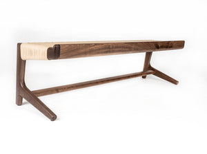 Rian Cantilever Long Bench, Walnut with Woven Kraft Danish Cord, Entryway, Bedroom, Custom