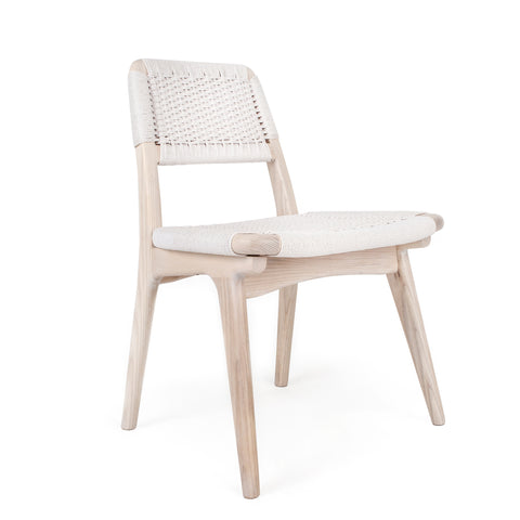 Rian Low Back Chair Pickled White Ash with White Danish Cord