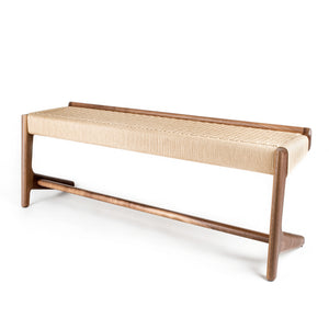 Rian Cantilever Long Bench Walnut Kraft Danish Cord