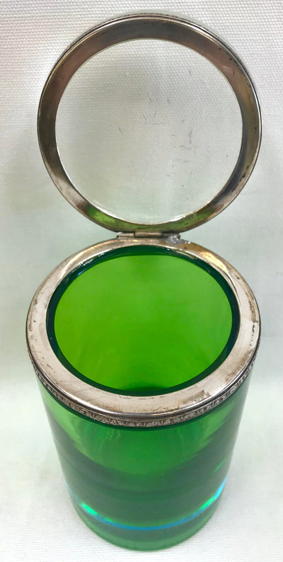 1960's Green and Blue Murano Glass Jar
