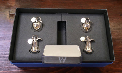 VTG Wedgwood Place Card Holder Setting Dinner Table Christmas Silver Party MIB - Set 4