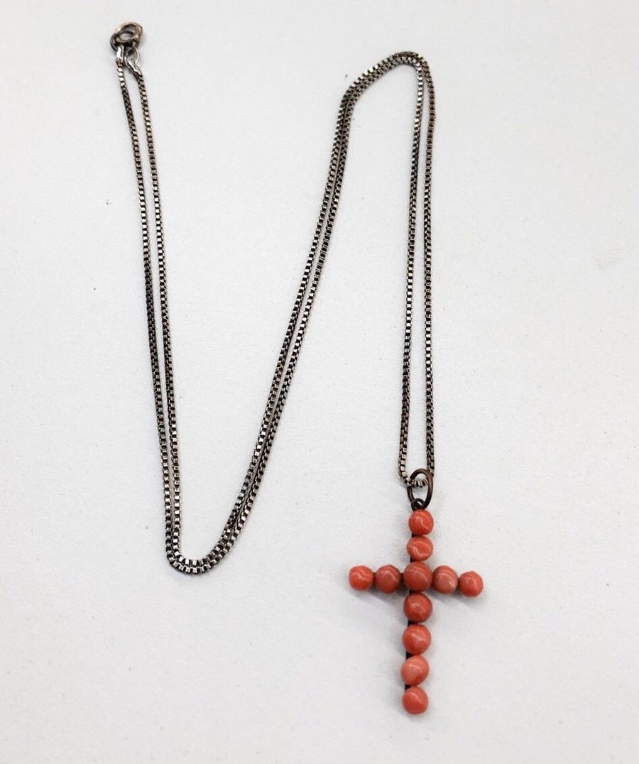 Rare Antique Salmon Coral Cross Copper Pendant Necklace Jewelry