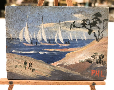 Vintage Miniature Oil Painting w/ Easel Cape Cod Sand Dune Sailboats Signed