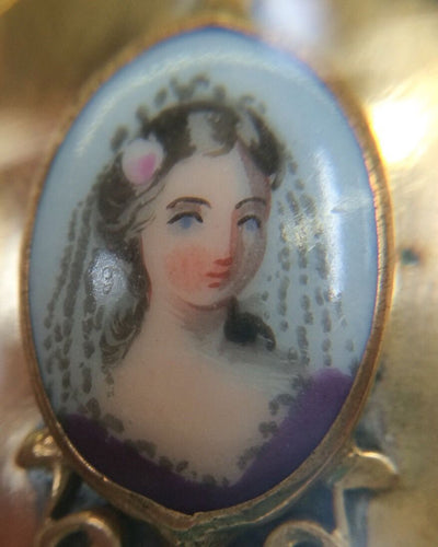 Ornate Victorian LOCKET G/F Gold Filled jewelry Pendant Portrait Porcelain
