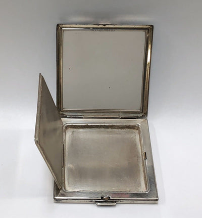 Vintage Square Art Deco Compact Case 14k Gold Sterling Silver Mirror Synthetic Rubies