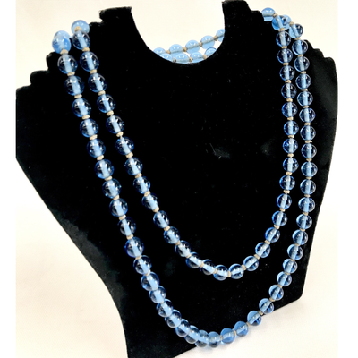 Peking blue glass beaded necklace