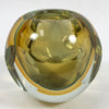 Rounded Yellow Cut Art Glass Vase